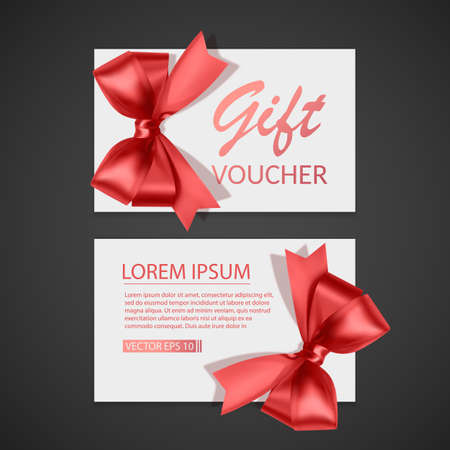 Voucher template with red bow, ribbons. Design usable for gift coupon, voucher, invitation, certificate, etc. Vector eps 10 illustration