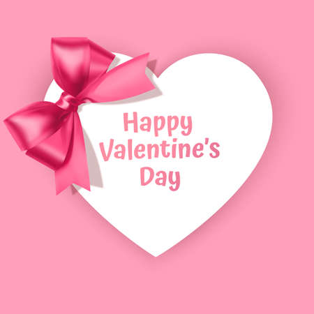 Greeting card with a heart-shaped frame decorated with a pink bow, Valentine's day greeting card, Vector eps 10 illustration