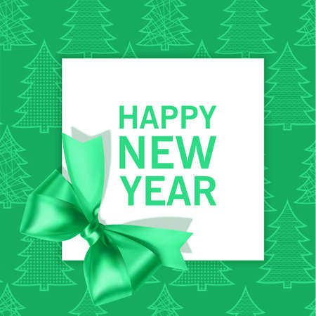 Happy new year greeting card on green background with place for text and decoration with green bow, satin ribbon, vector eps 10 format Vettoriali