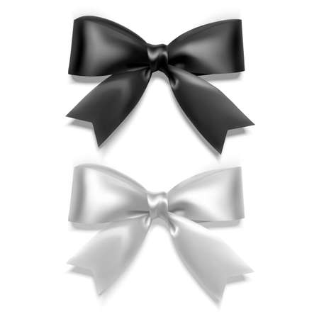 Set of Realistic bows, Ribbon of black and white colors isolated on white background. Vector eps 10 format
