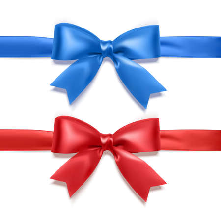 Set of realistic bows of red and blue colors for decoration of postcards, holiday boxes, etc., bows for decoration on a white background, vector eps 10 illustration