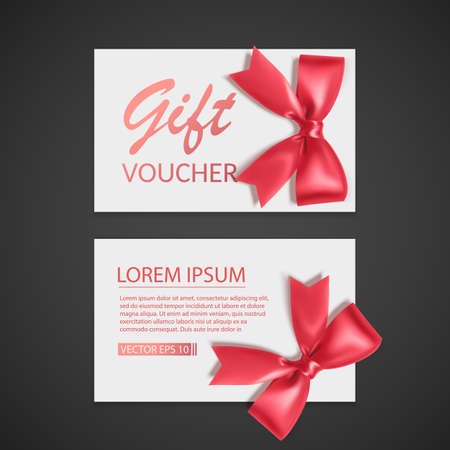 Voucher template with red bow, ribbons. Design usable for gift coupon, voucher, invitation, certificate, etc.