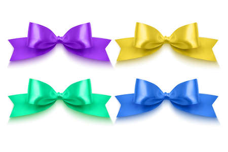 Set of realistic bows of purple, blue, yellow and green colors eps 10 illustration Vettoriali