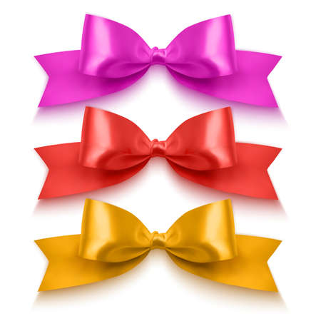 Set of realistic bows of red, orange and pink colors for decoration of postcards, holiday boxes, etc., bows for decoration on a white background, vector eps 10 format