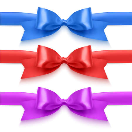 Set of realistic bows of red, blue and purple colors for decoration of postcards, holiday boxes, etc., bows for decoration on a white background, vector eps 10 format