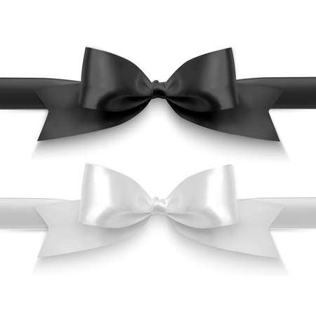 Set of Realistic bows, Ribbon of black and white colors isolated on white background. Vector eps 10 format Ilustracje wektorowe