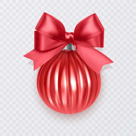 Red Christmas ball with bow. New Year decoration isolated on white background, Vector eps 10 format Vettoriali