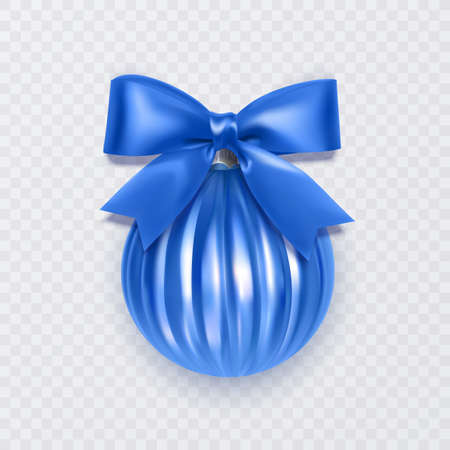 Blue Christmas ball with bow. New Year decoration isolated on white background, Vector eps 10 format