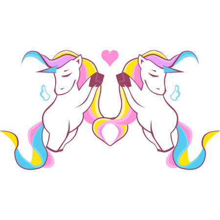 Cute hand drawn Unicorns in love isolated on white background. Can be used for print design. Valentine's day concept. Vector illustration