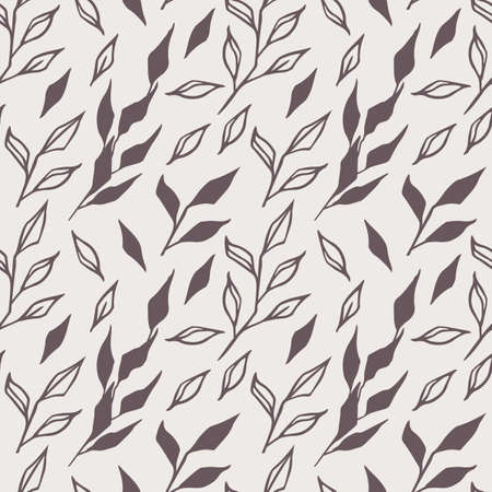 Seamless, endless pattern with hand-drawn scribbles of branches and leaves on a white background. Perfect for wrapping paper or rooms decor, vector illustration