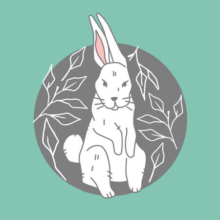 The icon cute white hare on green background, forest, woodland animal, illustration in flat, modern style.