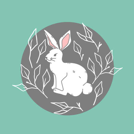 The icon cute white hare on green background, forest, woodland animal, illustration in flat modern style