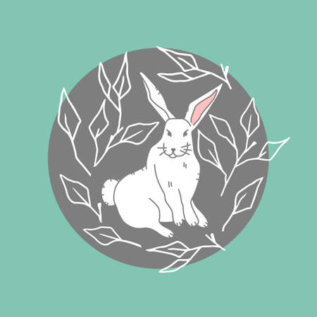 The icon cute white hare on green background, forest, woodland animal, illustration in flat modern style.