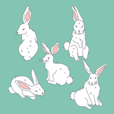 Set of icon cute white hare in different pose on green background, forest, woodland animal, illustration in flat modern style. Stock Illustratie