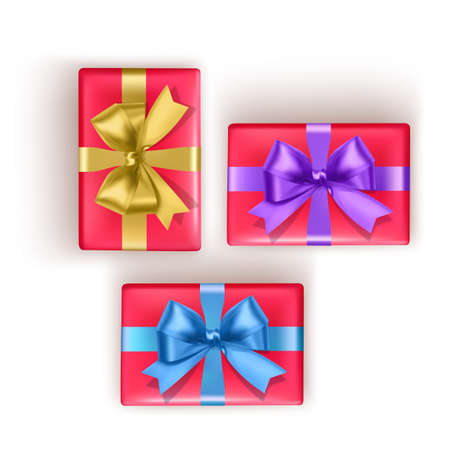 Set of colorful gift boxes with bows and ribbons. Vector illustration Stock Illustratie