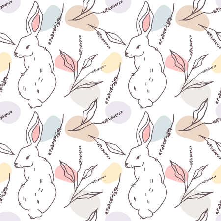 Seamless, endless pattern with white hare, bunnies and twigs with leaves modern style.