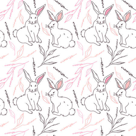 Seamless, endless pattern with white hare, bunnies and twigs with leaves, modern style, vector illustration