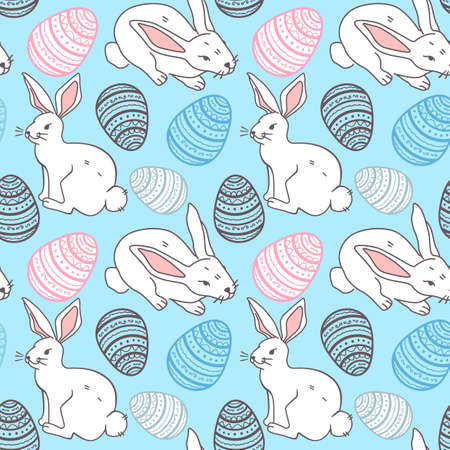Cute hand drawn Easter seamless pattern with bunnies and easter eggs, beautiful background, great for Easter Cards, vector illustration Stock Illustratie