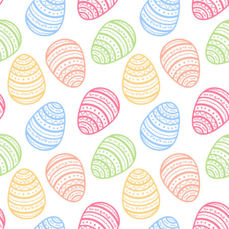 Seamless background for happy Easter day. The decorative Easter eggs with texture on a White background. Vector illustration