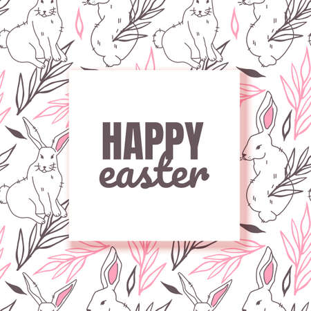 Easter layout with square frame, background with bunny and leaves on white background. Christian holiday banner or invitation with place for text. Cute spring card template