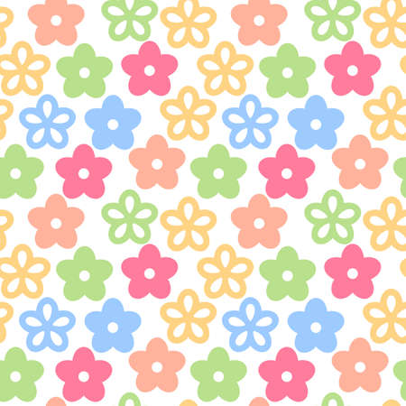 Seamless endless pattern with colorful flowers simple spring background, vector illustration Stock Illustratie