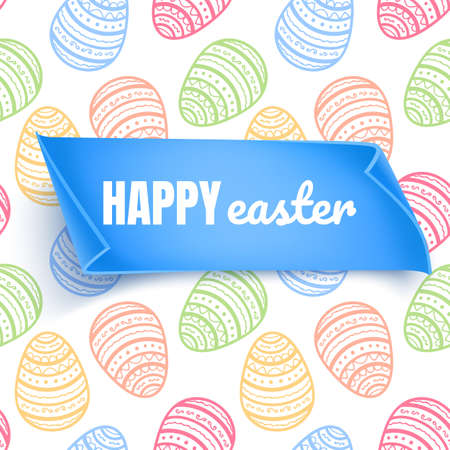 Happy Easter background with place for text, background decorated with colorful eggs, Greeting card trendy design. Invitation template Vector illustration for you poster or flyer