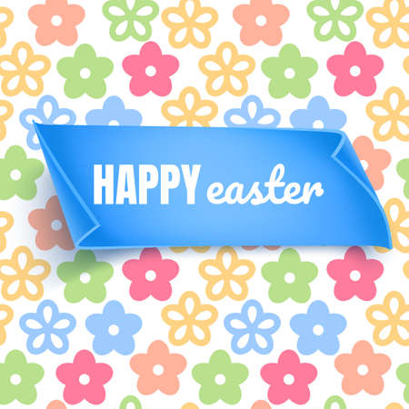 Easter layout, background with colorful flowers on white background. Christian holiday banner or invitation with place for text. Cute spring card template