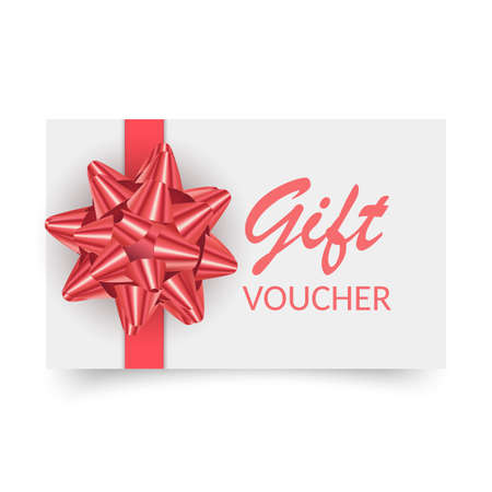 Gift Voucher template with red bow, ribbons. Design usable for gift coupon, voucher, invitation, certificate, etc.