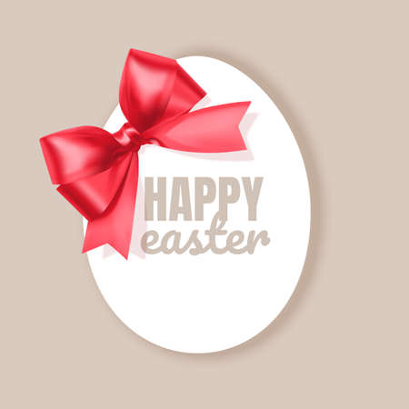 Happy Easter greeting card frame in shape of egg, illustration in simple flat style, Vector eps 10 format