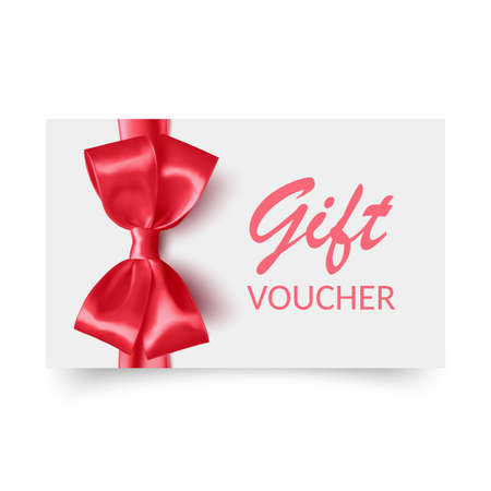 Gift Voucher template with red bow, ribbons. Design usable for gift coupon, voucher, invitation, certificate, etc. Vector eps 10 format