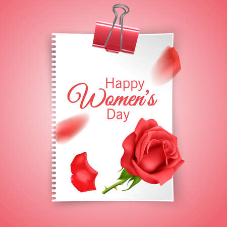 Greeting card of lovely happy womens day international decorated with a rose and space for text Stock Illustratie