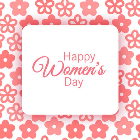 Greeting card of lovely happy womens day international decorated with flower background and space for text