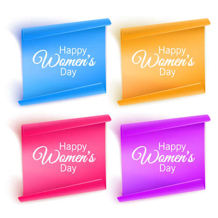 Set of paper banners with red, purple and orange colors banners with the wishes of a happy womens day, greeting cards