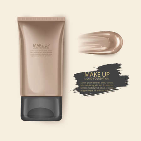 Cosmetic product, Foundation, concealer, cream with smear stroke, Vector Template illustration