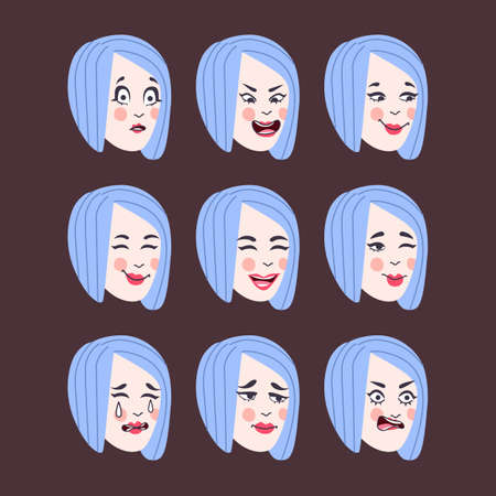 Set of woman's emotions. Facial expression. Girl Avatar, illustration in flat design, Vector format