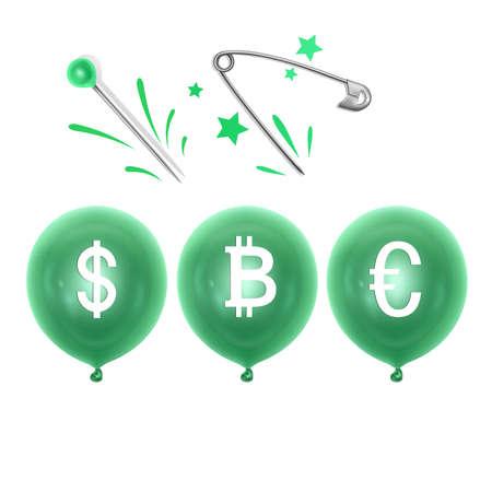 An inflatable balloon with a dollar, euro and bitcoin symbols and a needle. Concept of economy problem or financial crisis and bankruptcy Vektoros illusztráció