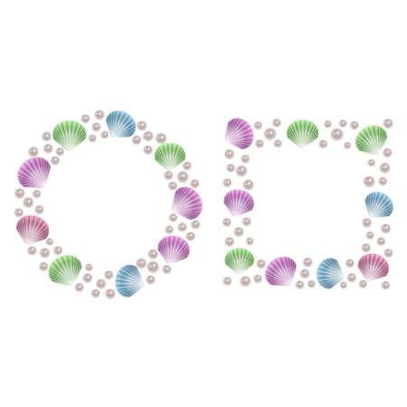 Frame for photos or text of shells and pearls, vector illustration Ilustração