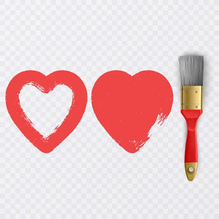 Painted red heart, element for your design, Heart shape Love illustration. Design for Valentine's day card background, vector illustration Ilustração