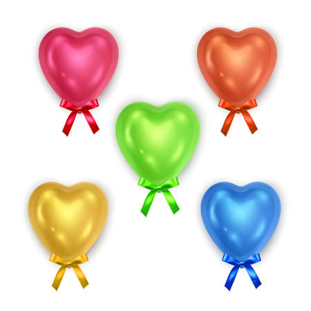 Set of bright voluminous hearts decorated with bow isolated on white background, can be used like Party decorations for birthday or Valentine's Day, Vector illustration Ilustração