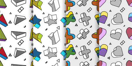 Set of Seamless patterns with 3d graphic elements in pop art style, You can use this as a wallpaper in a children's room, Vector illustration Ilustração