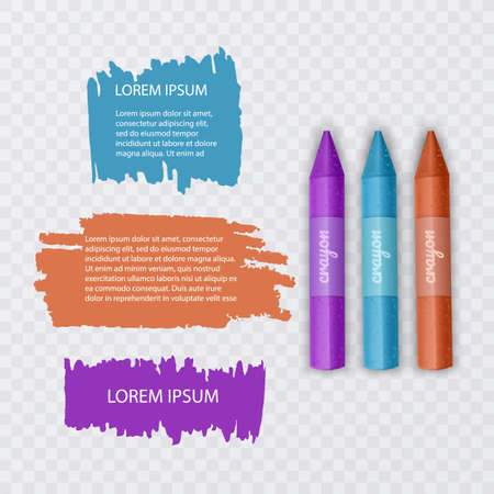 Illustration with realistic Wax Pencils, with highlighter elements and speech bubbles on transparent background