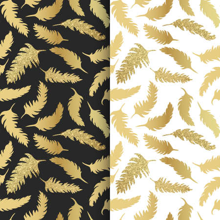 Seamless pattern with golden feathers with shiny texture, glitter feathers on white and Black backgrounds