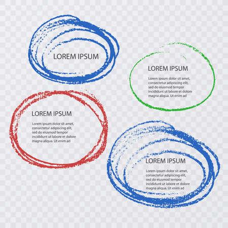 Illustration with highlighter elements and speech bubbles on transparent background. Vector illustration Ilustração