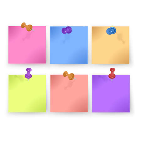 Sticky note collection with curled corners and shadows, vector format