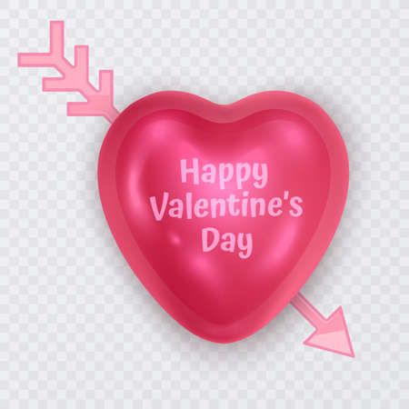 The figure volumetric brilliant heart of pink color, greeting card of Valentine's Day or wedding day, vector illustration