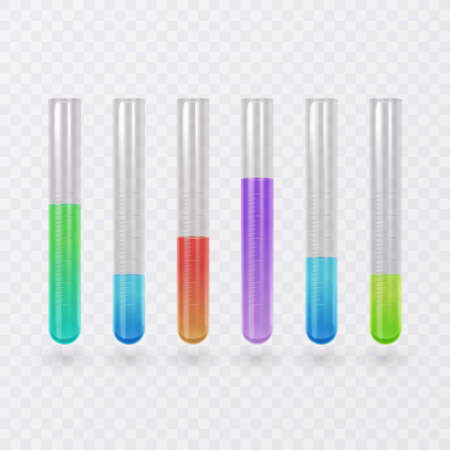 Science test tube icon set. Test tube with bright colors liquid. Illustration of test tubes in Realistic style, vector format Ilustração