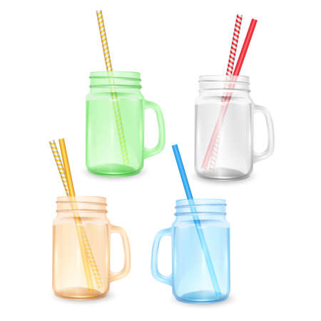 Set of empty jar for smoothies with striped straw for cocktails isolated on white background for advertising your products drinks in restaurants and cafes Ilustração