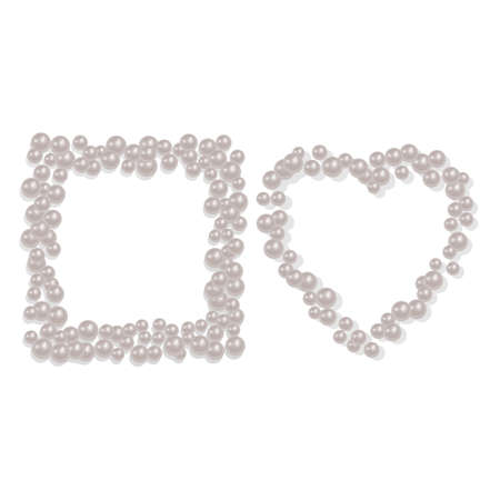 Heart and Square shaped frame from a scattering of pearls, can be used for your photos or for the decoration of greeting cards, Vector EPS 10 illustration