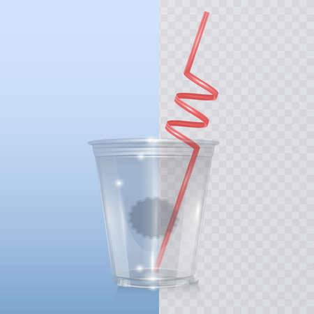 Transparent plastic cup template for soda or cold beverage with drinking straw, isolated on Transparent background. Packaging collection. Vector EPS 10 illustration.