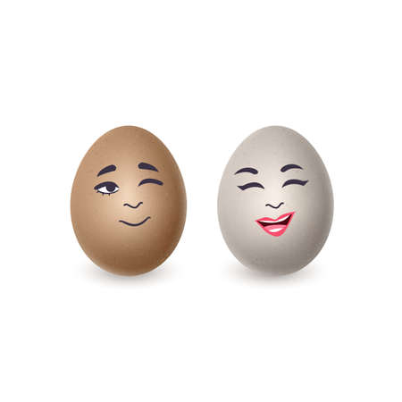 Couple of realistic eggs with funny faces on white background. Vector illustration